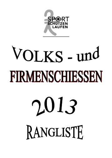 Ranglisten Volksschiessen 2013 - Pistolenklub Zwingen