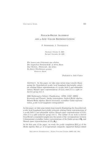 Banach-Hecke Algebras and p-Adic Galois Representations