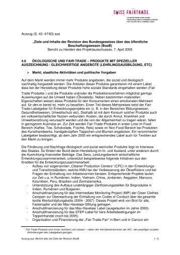 BE_Auszug Öko_FT aus BoeB - Swiss Fair Trade