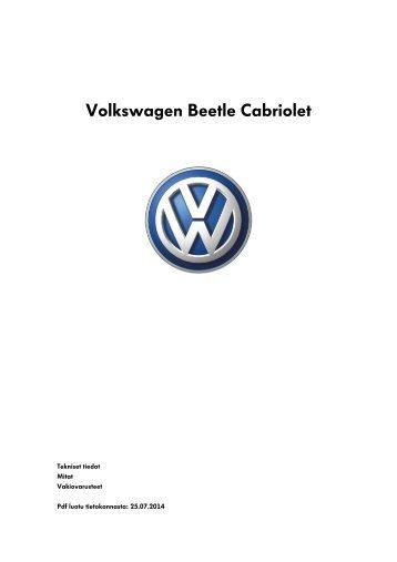 Volkswagen Beetle Cabriolet tekniset tiedot, mitat ja varusteet