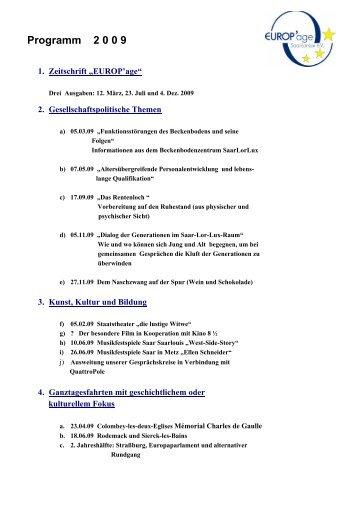 Programm 2 0 0 9 - Verein Altenwerk und Altenkultur e.V. Europ'Age
