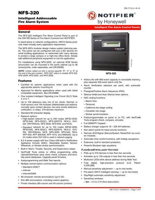 NFS 320 Datasheet Notifier
