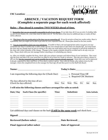 LeaveAbsence Request And Attendance Control Form  Hilbert School