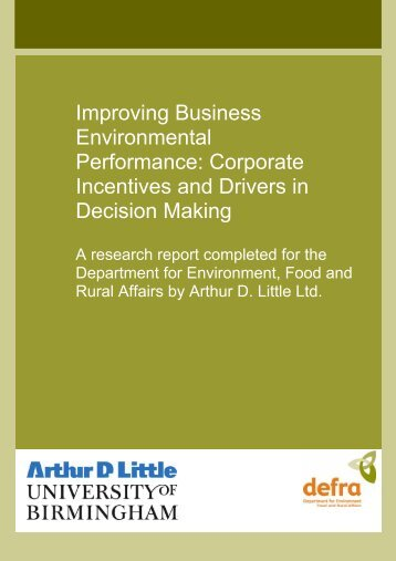 Corporate incentives and drivers in decision making - final report
