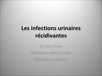 les infections urinaires rcidivantes en 2008