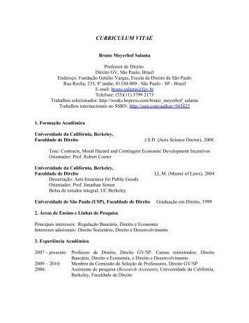 Currículo Completo - Escola de Direito de São Paulo