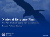 a safer, more secure America – Federal Partners Briefing