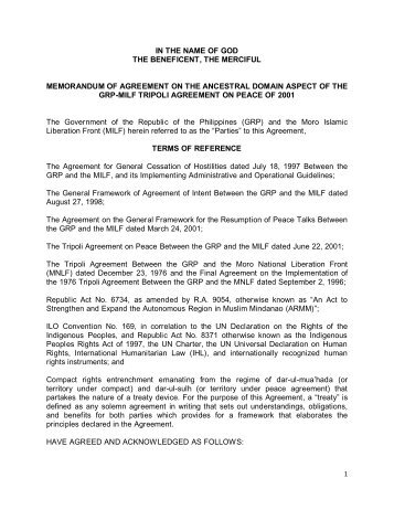 Memorandum agreement between milf