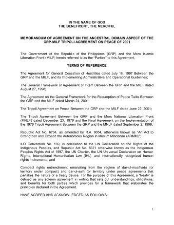 Memorandum Of Agreement On The Ancestral Domain Aspect Of The