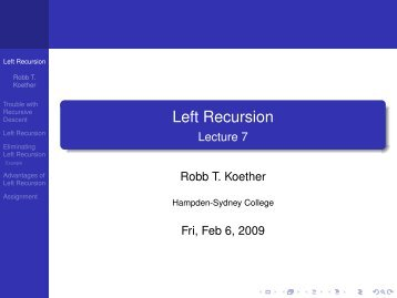 Left Recursion - Lecture 7 - Hampden-Sydney College