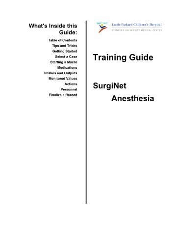 Optional Training Guide (PDF) - LPCH Intranet