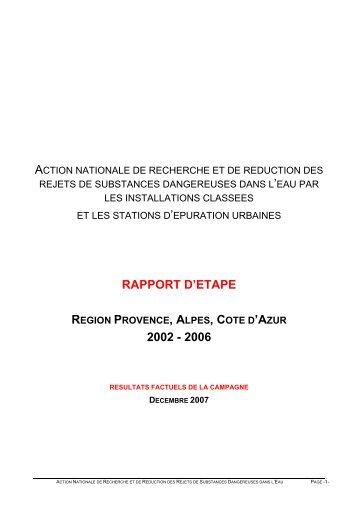 Rapport de la première campagne en PACA - Environnement ...