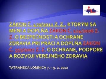 Nová legislatíva v oblasti BOZP