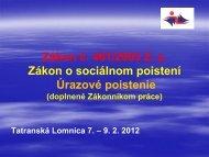 Zákon č. 461/2003 Z. z. Zákon o sociálnom poistení Úrazové poistenie