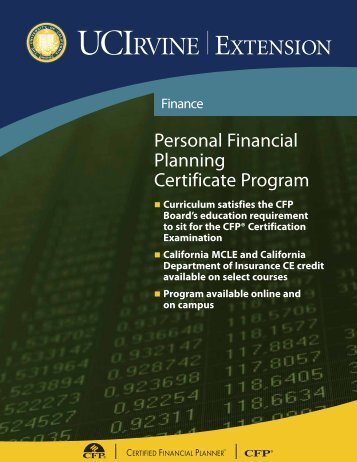 Personal Financial Planning Certificate Program - UC Irvine Extension