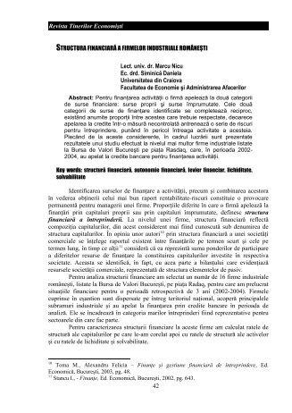 42 Revista Tinerilor Economiúti STRUCTURA FINANCIAR A ...