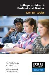 2010-2011 Catalog - College of Adult & Professional Studies