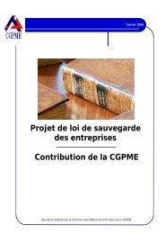 Projet de loi de sauvegarde des entreprises Contribution ... - CGPME