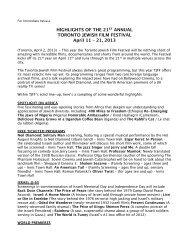 TJFF 2013 Festival Highlights FINAL - Toronto Jewish Film Festival