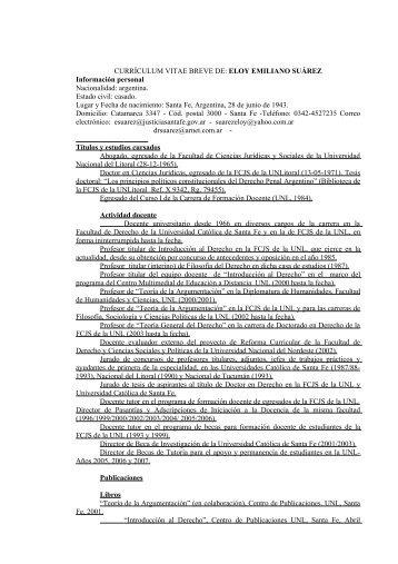 currículum vitae breve de - Gobierno de la Provincia de Santa Fe