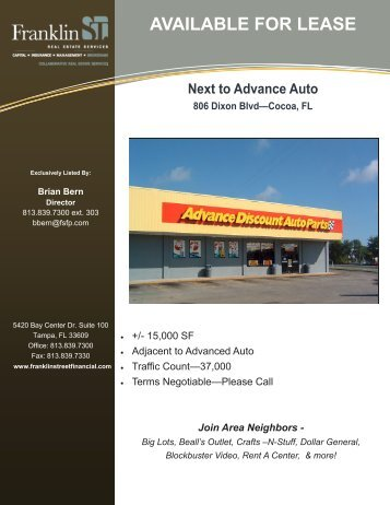 Advance Auto Cocoa Flyer - Franklin Street Financial