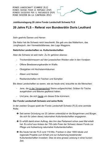 20 Jahre FLS – Referat von Bundesrätin Doris Leuthard - Fonds ...