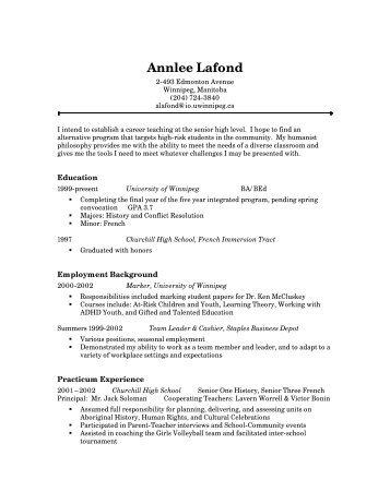 resume sample for various occupations salisbury university