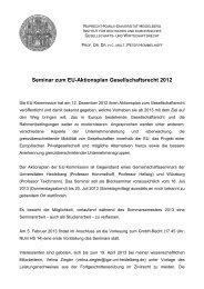 Seminar zum EU-Aktionsplan Gesellschaftsrecht 2012 - Institut für ...