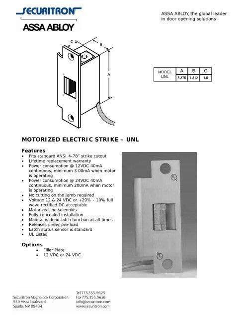 motorized electric strike – unl - Securitron Magnalock