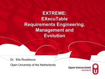 EXecuTable Requirements Engineering, Management and Evolution