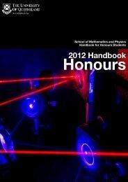 2012 Handbook Honours - School of Mathematics and Physics ...