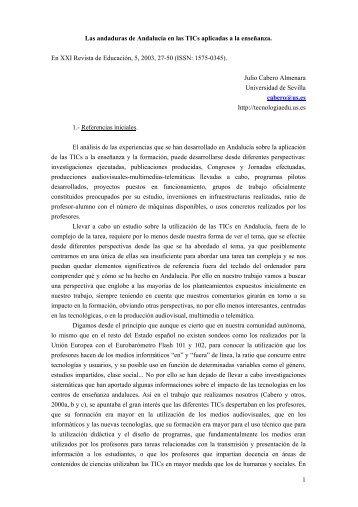 Las andaduras de Andalucía en las TICs aplicadas a la enseñanza ...