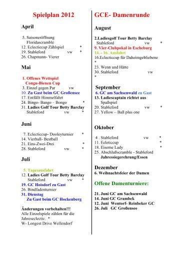 Spielplan 2012 April