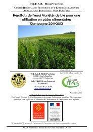 Résultats de l'essai Variétés de blé pour une utilisation en pâtes ...
