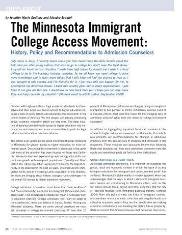 The Minnesota Immigrant College Access Movement - William Perez ...
