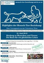 Highlights der Mensch-Tier-Beziehung: - Universität Wien ...