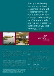 Thank you for choosing Scarman, one of Warwick Conferences ...