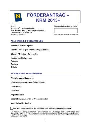 Antragsformular - Raumordnung und Regionalpolitik