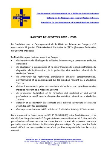 RAPPORT DE GESTION 2007 – 2008 - FDIME