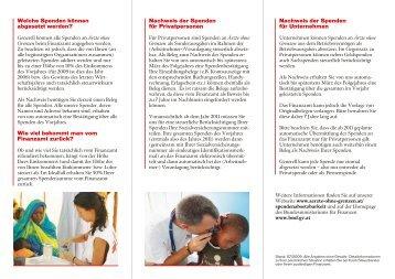 MSF Folder Spendenabsetzbarkeit - Ärzte ohne Grenzen