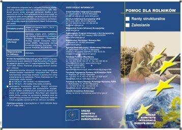 POMOC DLA ROLNIKÓW Renty strukturalne Zalesianie - Polska w UE