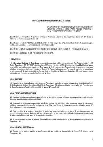EDITAL DE CREDENCIAMENTO UNIVERSAL nº 002/2011 - AMMOC
