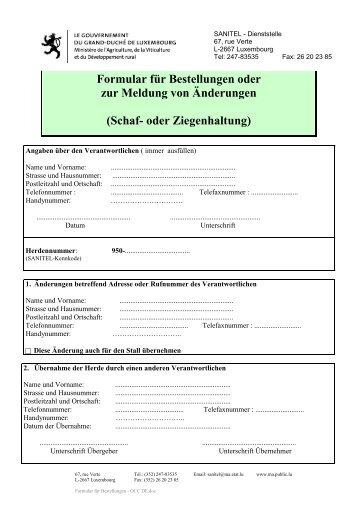 Formular für Bestellungen - OCC DE