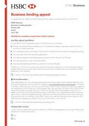 Business lending appeal form (PDF) - Business banking - HSBC