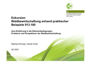 Exkursion Waldbewirtschaftung anhand praktischer Beispiele 913.100