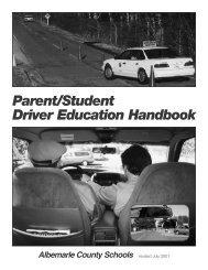 Driver's Ed Manual - Albemarle County Public Schools