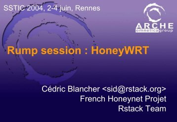 Rump session : HoneyWRT - Sid