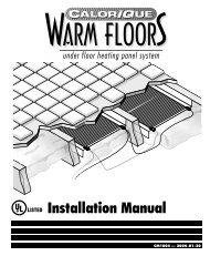 Floor Warming Instruction Manual - Thermal Equipment Sales ...