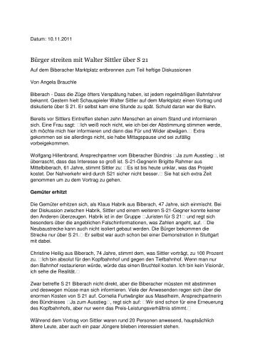 Walter Sittler im Gespräch mit Biberacher Passanten zu