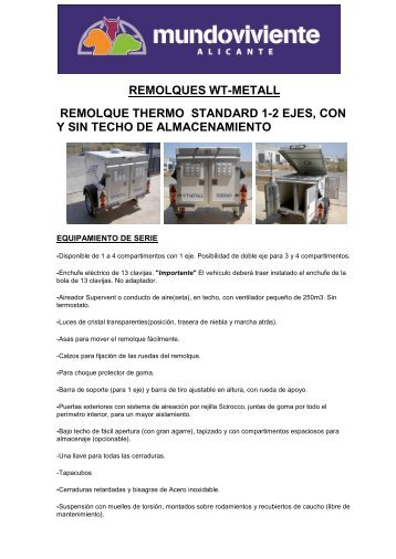 remolques wt-metall remolque thermo standard 1-2 ejes, con y sin ...